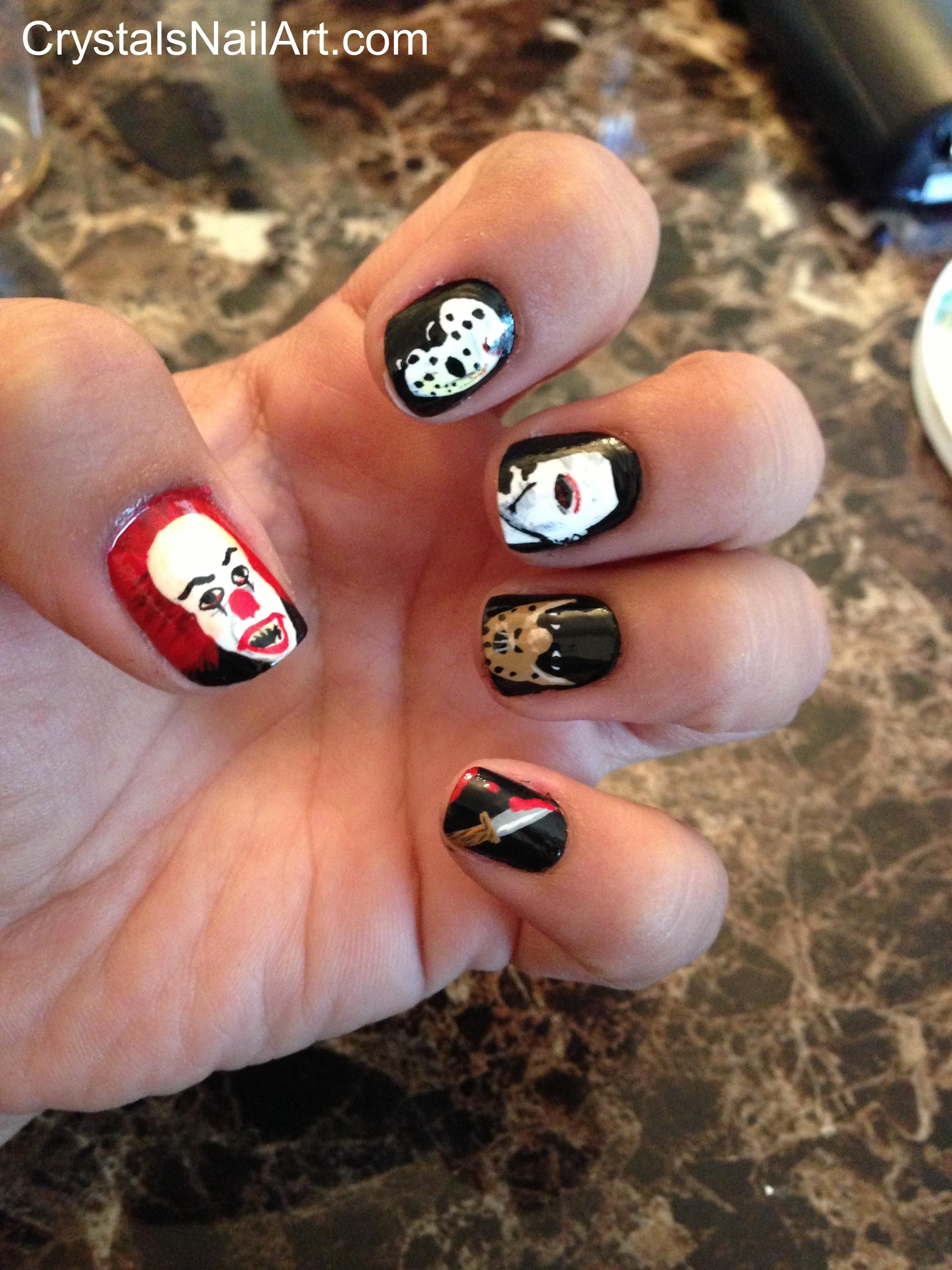 Nail Frightened art ideas for halloween exclusive photo