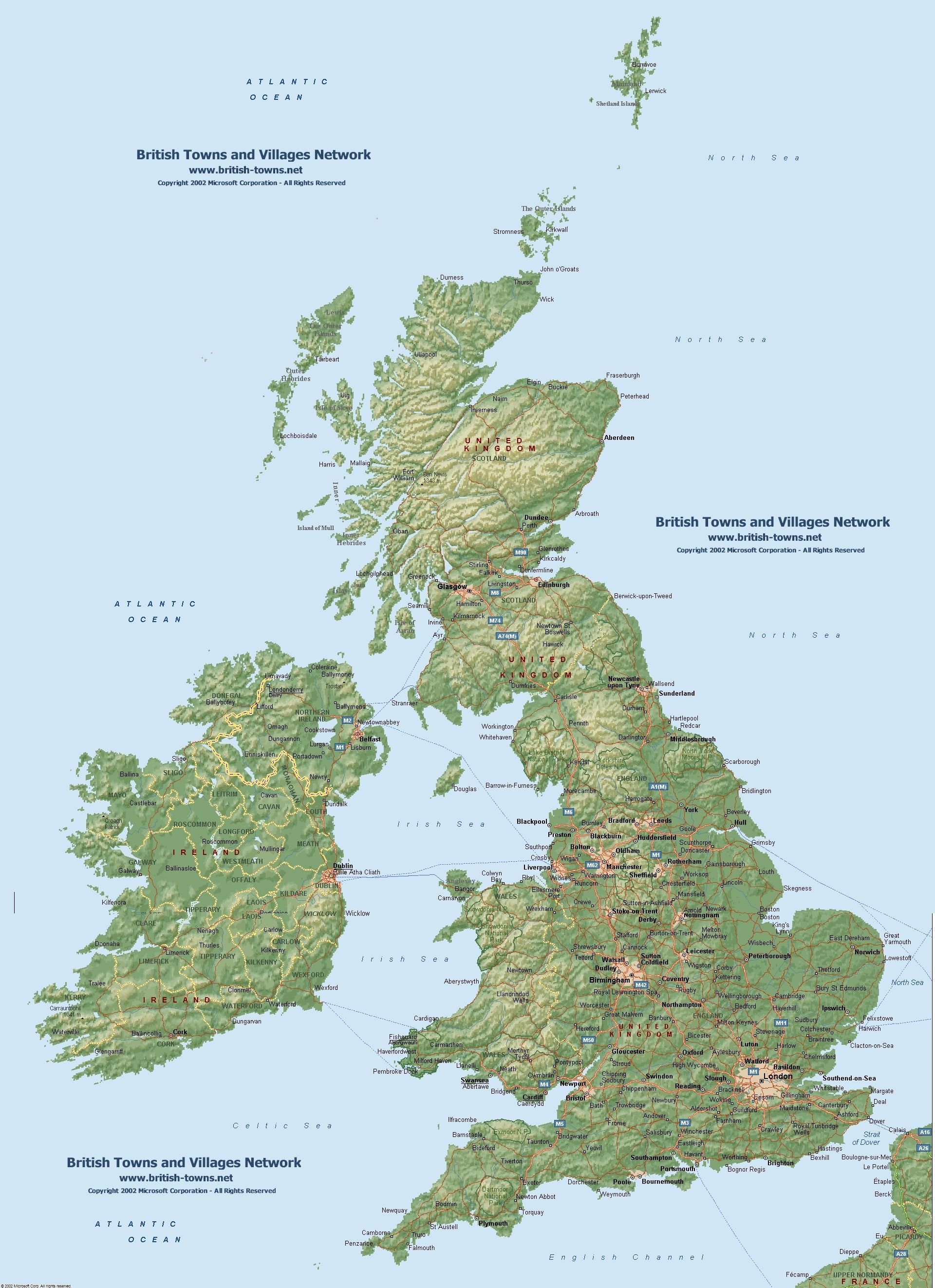 Itish Towns National Maps Map Images Uk