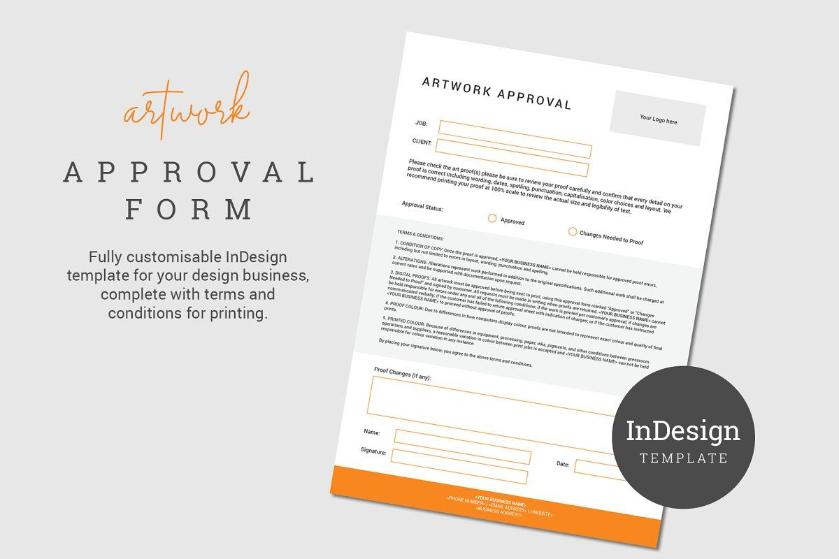 Artwork Approval Form Business Design Stationery Templates Indesign Templates