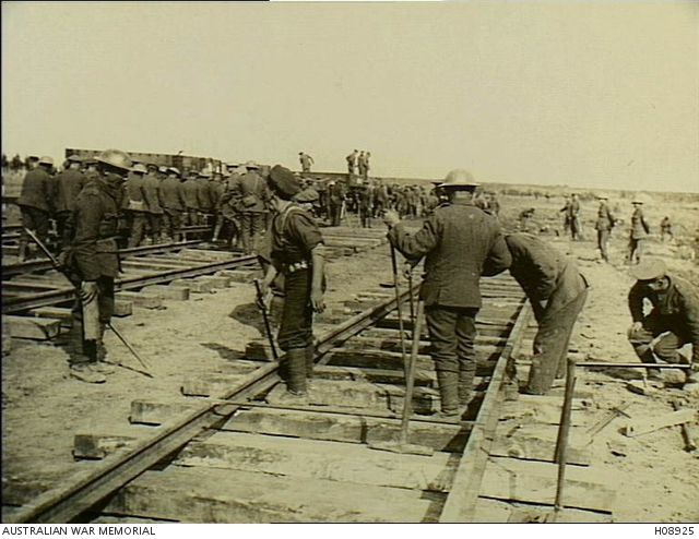 France. c. 1918. British Army Royal Engineers building a new railway. (Donor British Official Photograph D360). Australian War Memorial image H08925