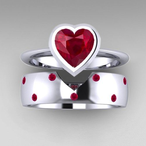 Heart Cut Ruby Stone Solitaire Engagement Ring and Wedding Band