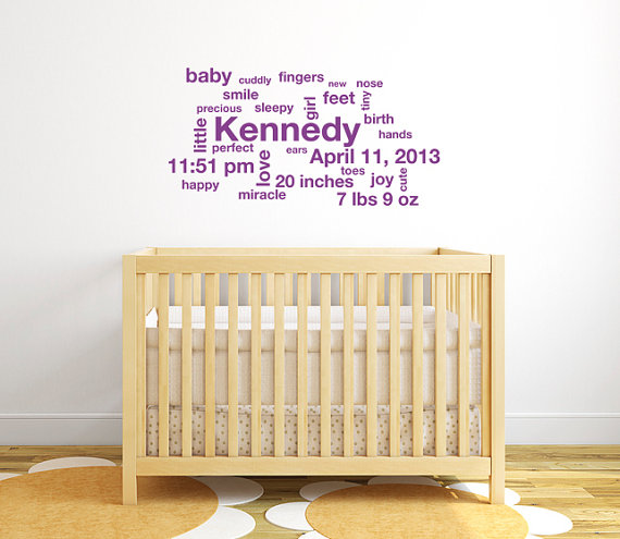 Subway art baby wall decals, Personalized baby gifts, Girl room ...
