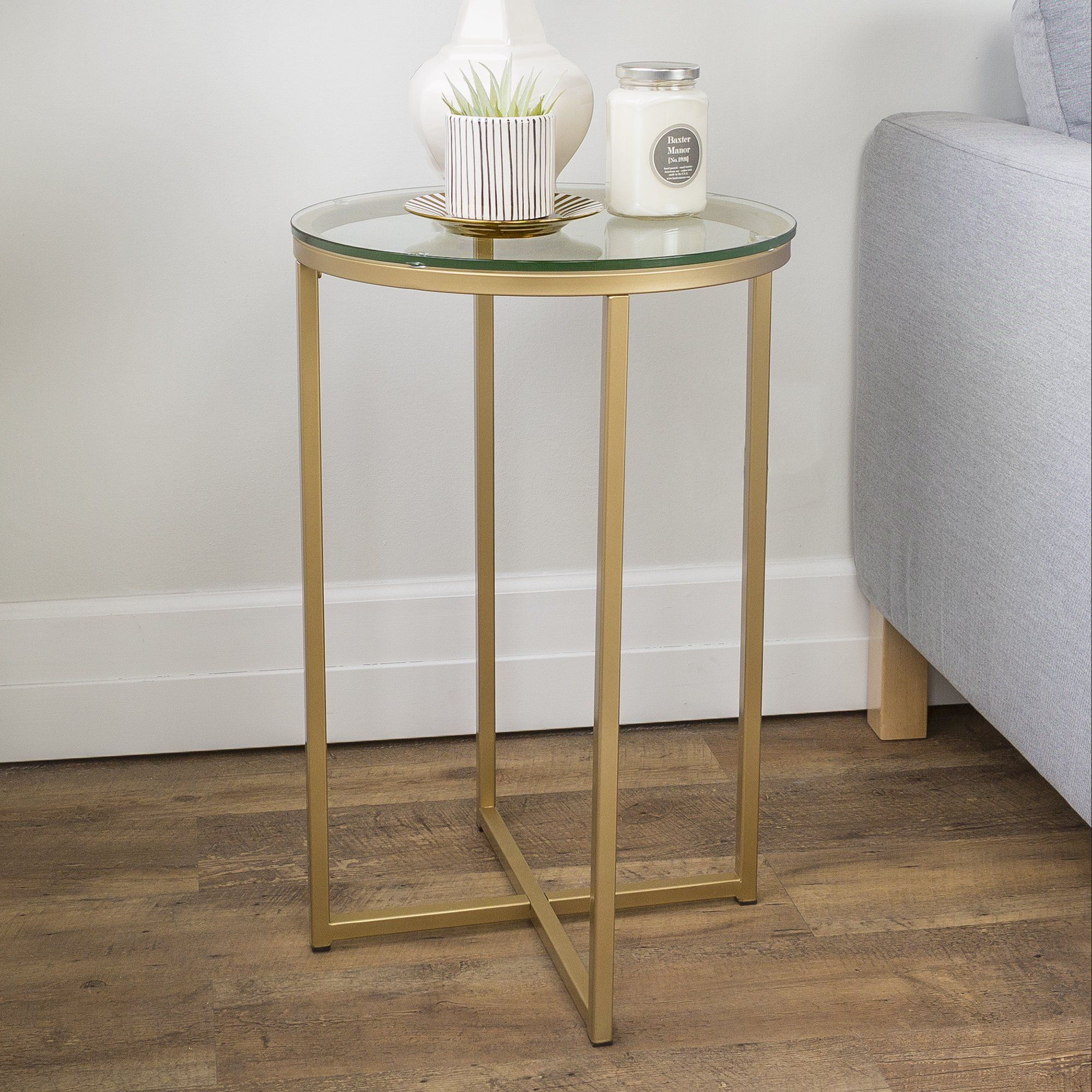 Daisy Glass And Gold Round End Table By Ember Interiors Walmart Com In 2020 Side Table Decor End Tables Round Side Table