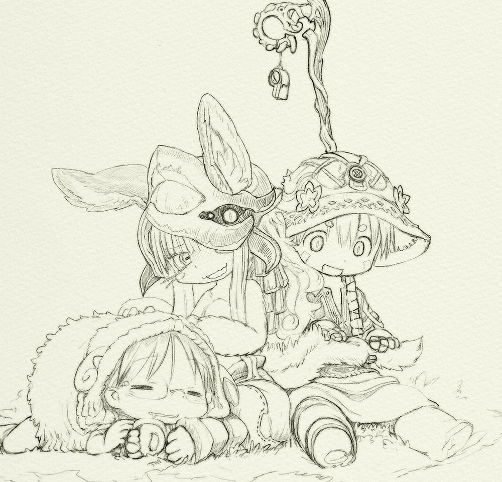 Riko, Nanachi y Reg | Anime board | Anime lineart, Kawaii