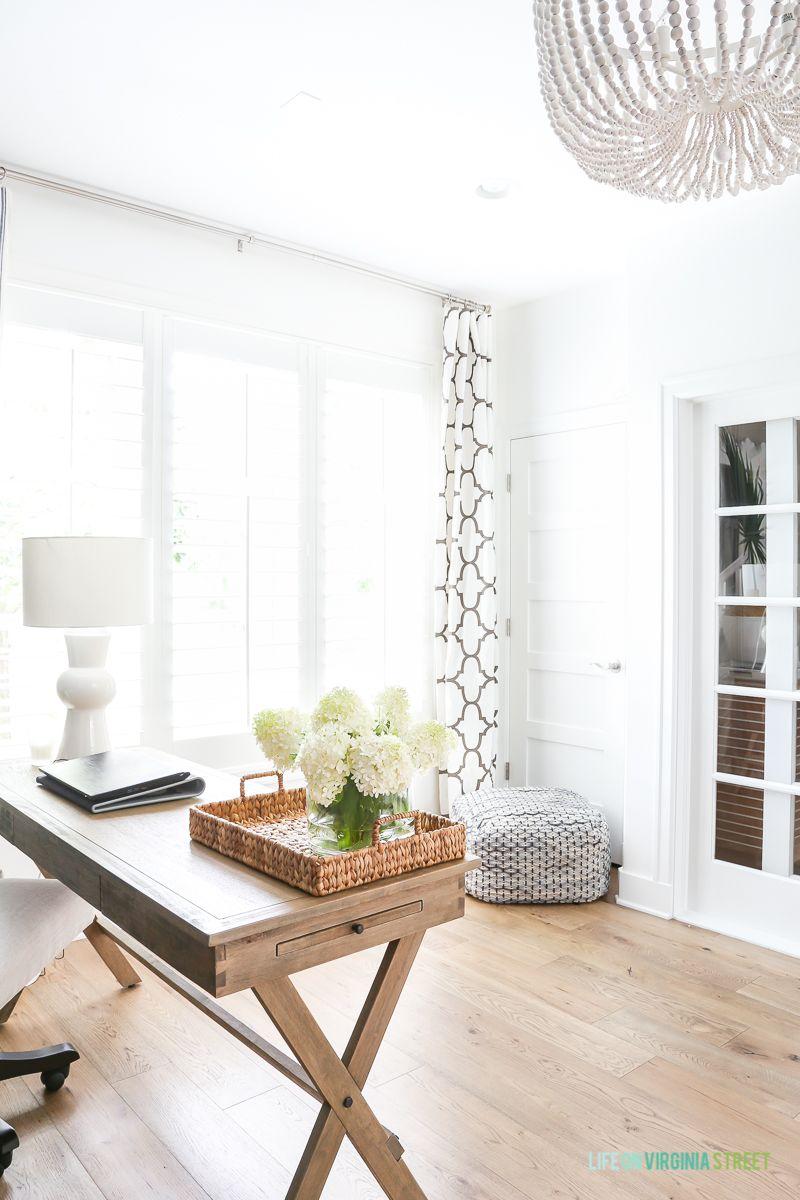 White Oak Hardwood Floors + Office Reveal   Beaded chandelier, White ...