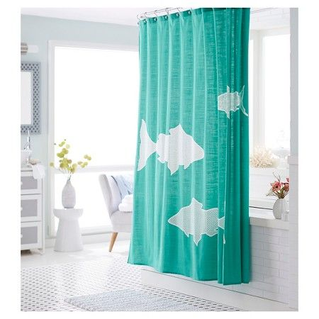 Threshold Shower Curtain Fish Target Teal Turquoise Light Blue With White Fish Regularly 19 99 Cotton 72x7 Curtains Bath Accessories Set Shower Curtain