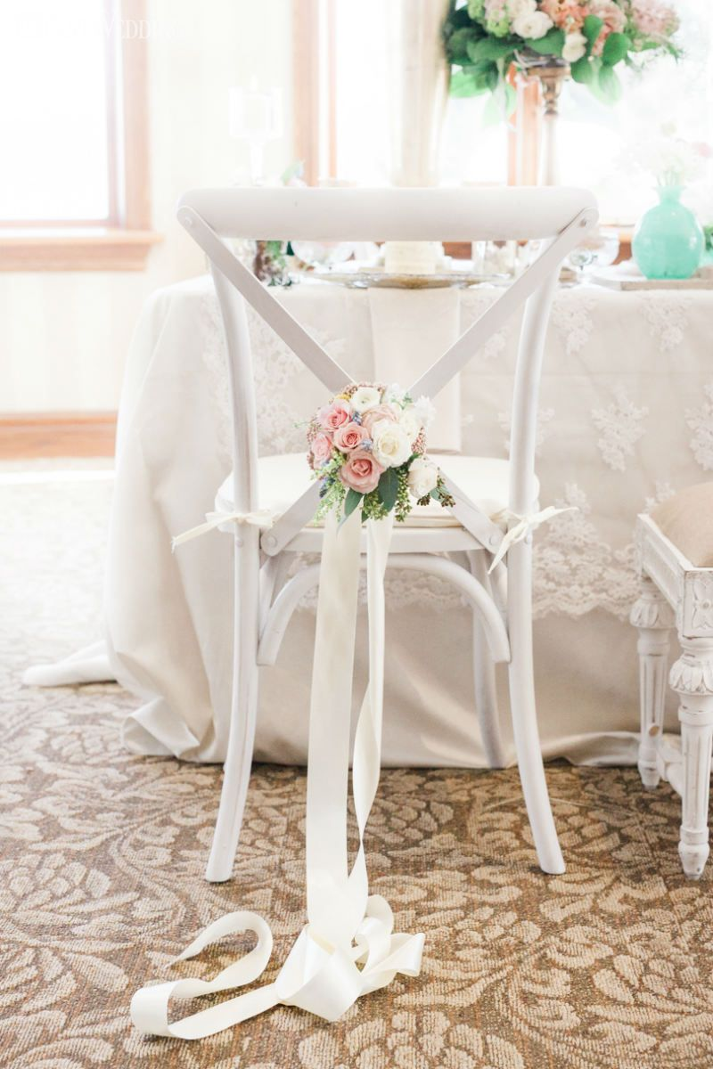 White wood wedding chairs with flowers! PINK & AQUA SECRET GARDEN ...