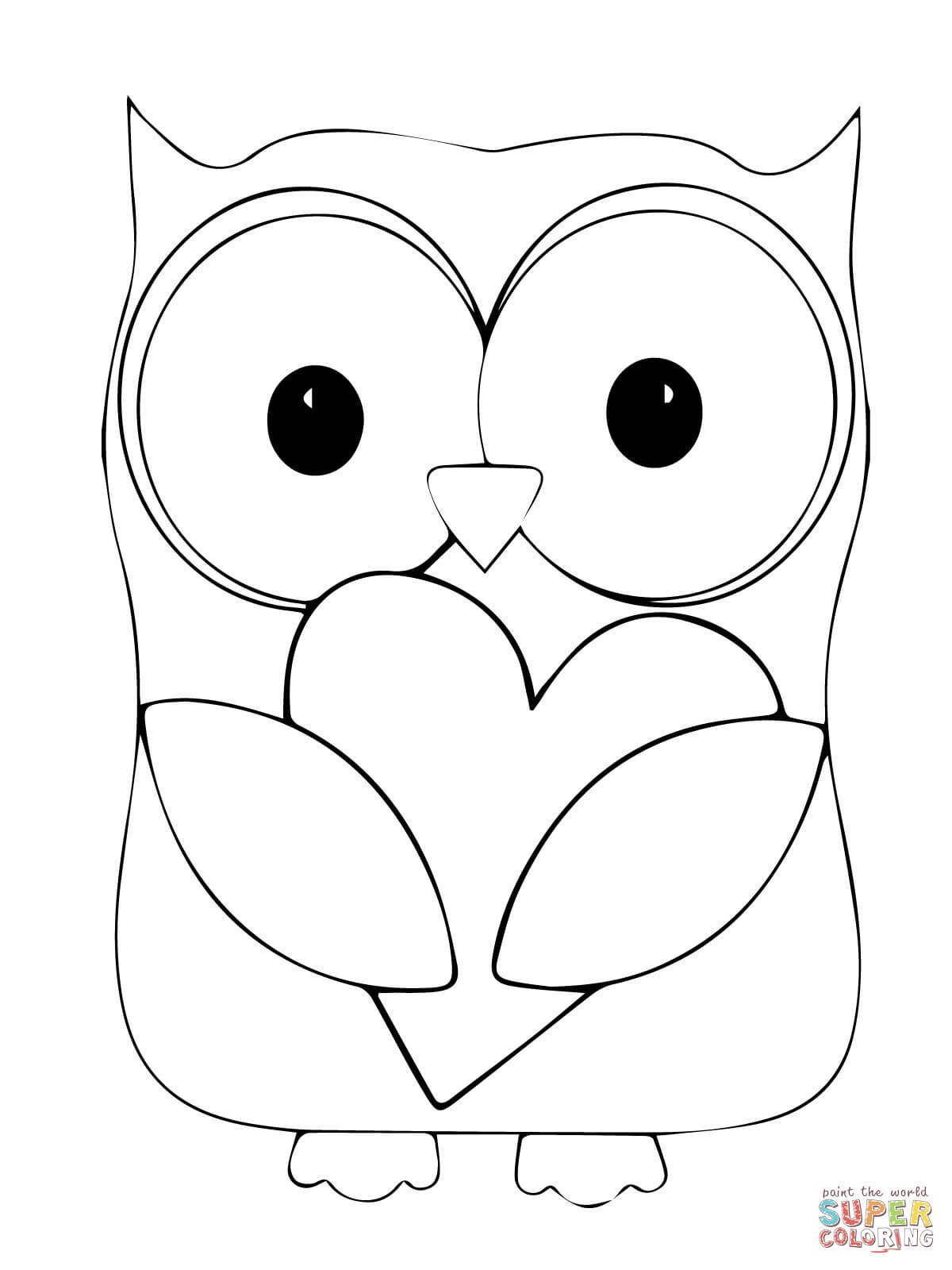 Valentine Day Owl Hugging A Heart Coloring Page From Owls Category Select From 29179 Printable C Owl Coloring Pages Heart Coloring Pages Animal Coloring Pages