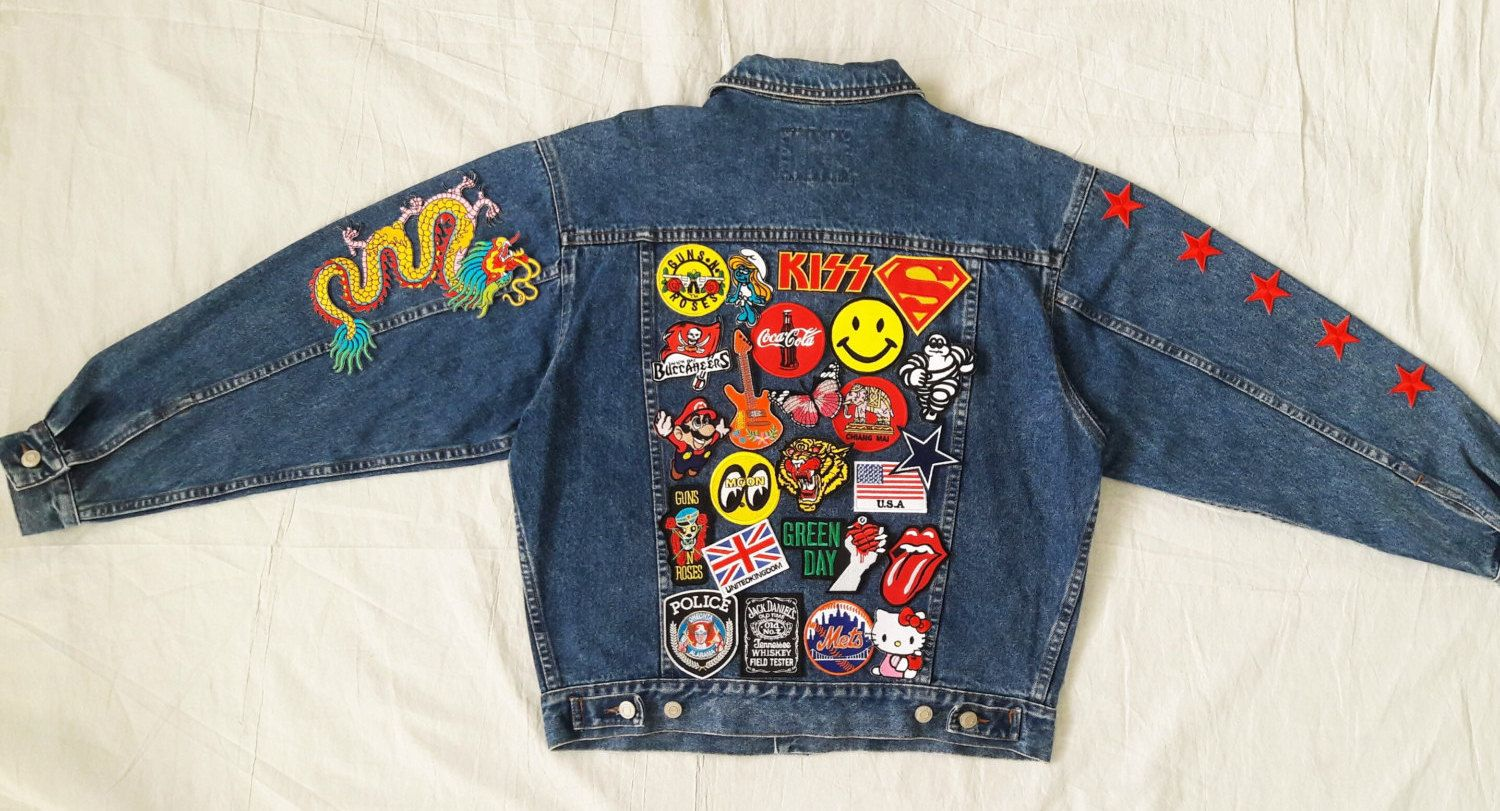 Patched Denim / Hand Reworked Studded Vintage Jean Jacket with Patches / Patch Jean Jacket Men Size L Unisex Adult