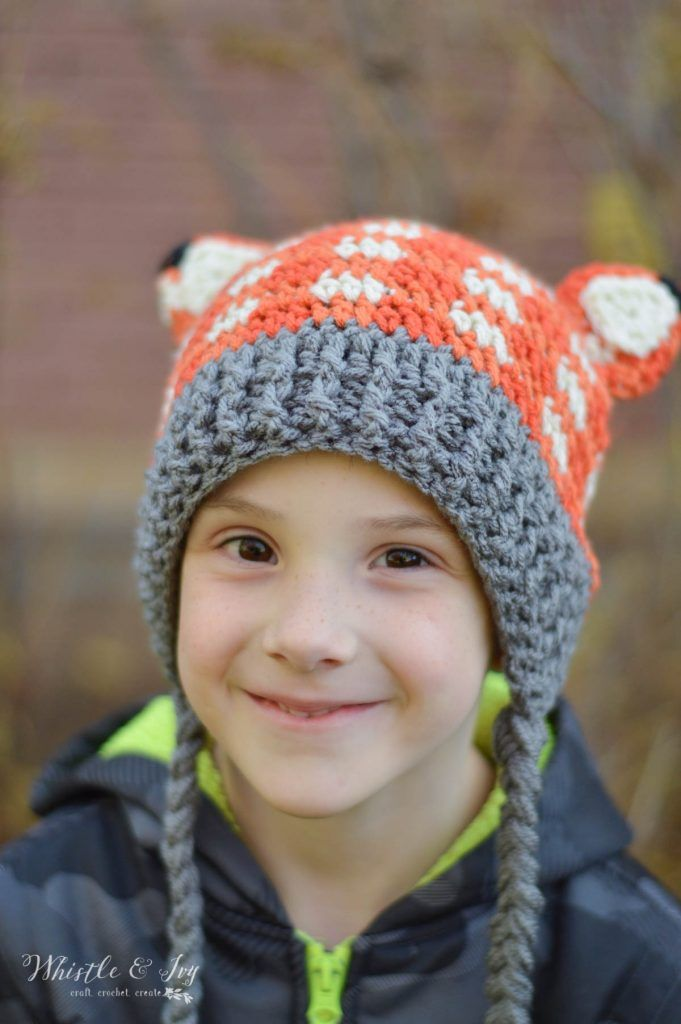 Crochet Plaid Fox Hat - Free Crochet Pattern, adorable crochet fox ...