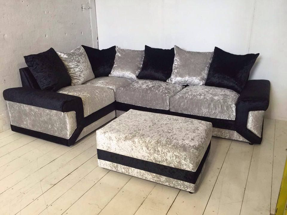 Dino Crushed Black Ice Silver Velvet Corner Sofa Including Interior Foam Seats Worth 59 Piping Around Seats Cus Velvet Corner Sofa Crushed Velvet Sofa Sofa