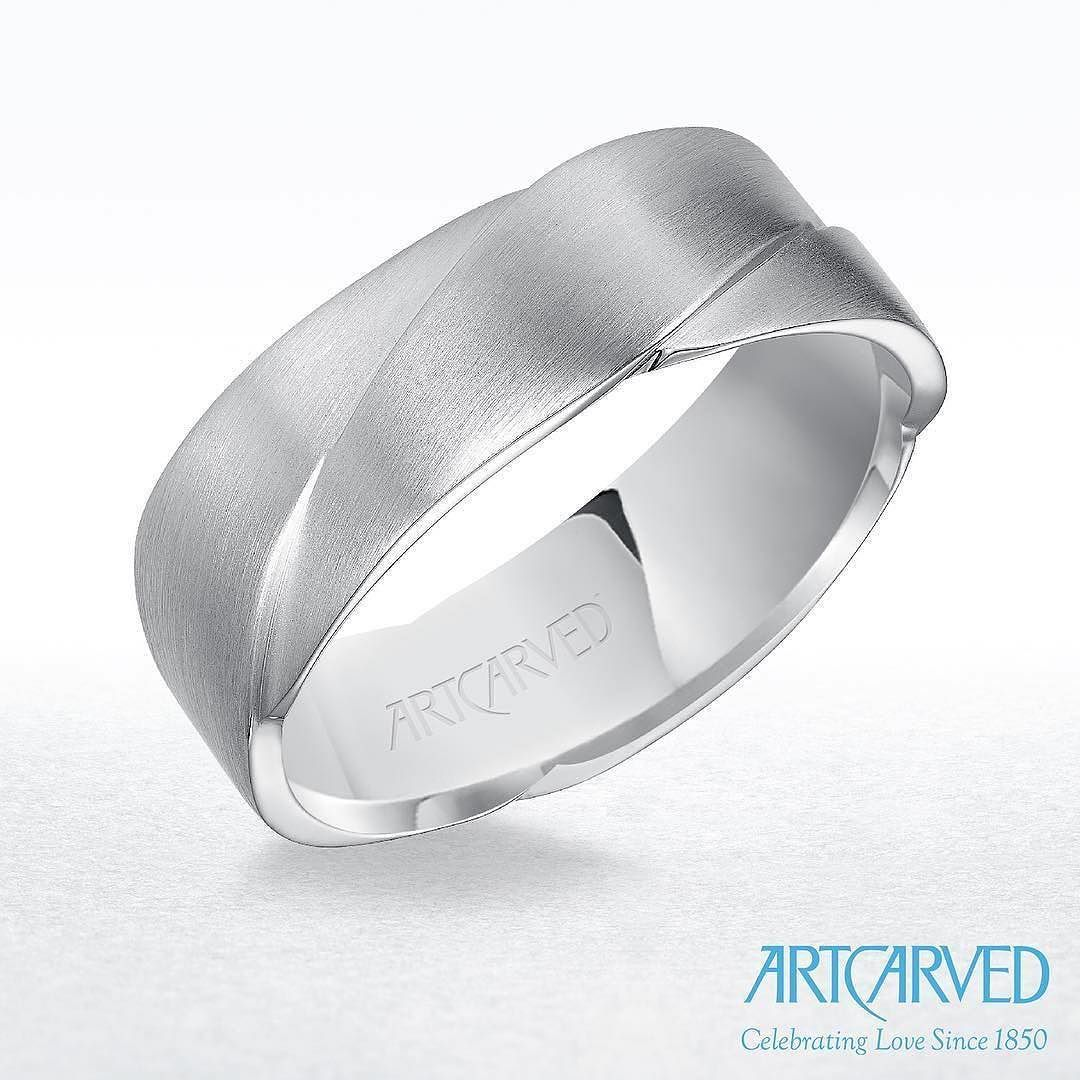 Woven satin finish wedding band by Artcarved available