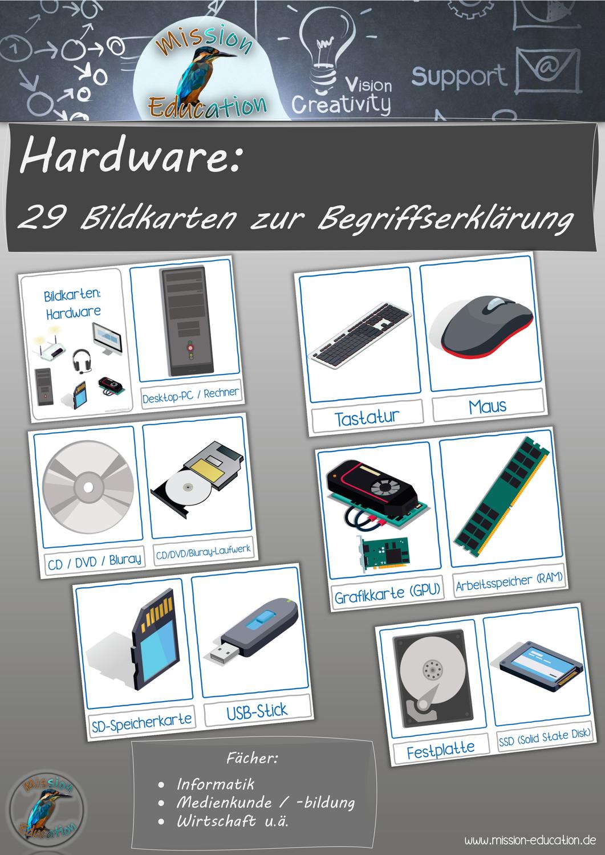 Hardware Bildkarten Zur Einfuhrung Computer Informatik Medienbildung Unterrichtsmaterial Im Fach Informatik Itg In 2020 Bildkarten Informatik Unterrichtsmaterial