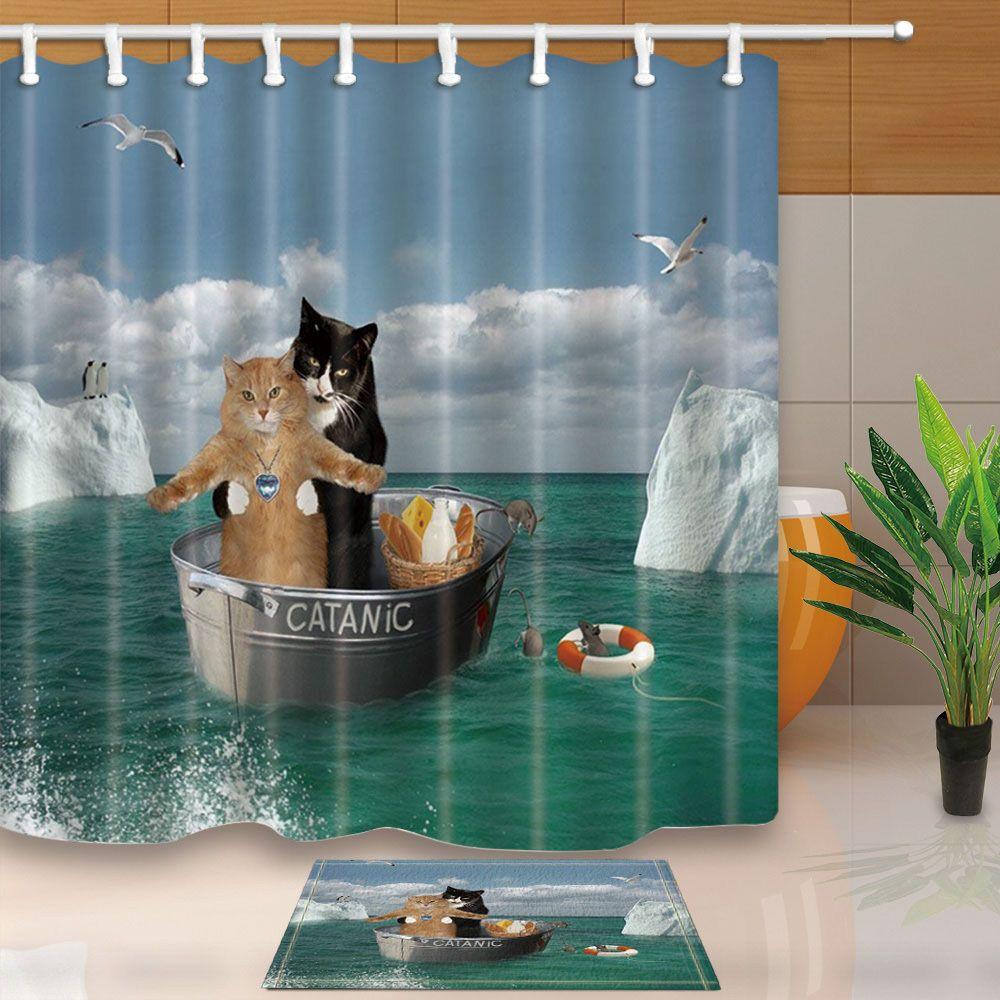 Romantic Cat Titanic Animal Polyester Fabric Shower Curtain Set