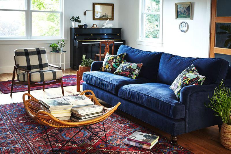 Design Updates in the Living Room | Box, Blue velvet sofa and Living ...
