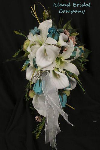 Bride Wedding Bouquet Silk Flowers Calla Lily Ivory Stargazer Blue Rose 12   eBay