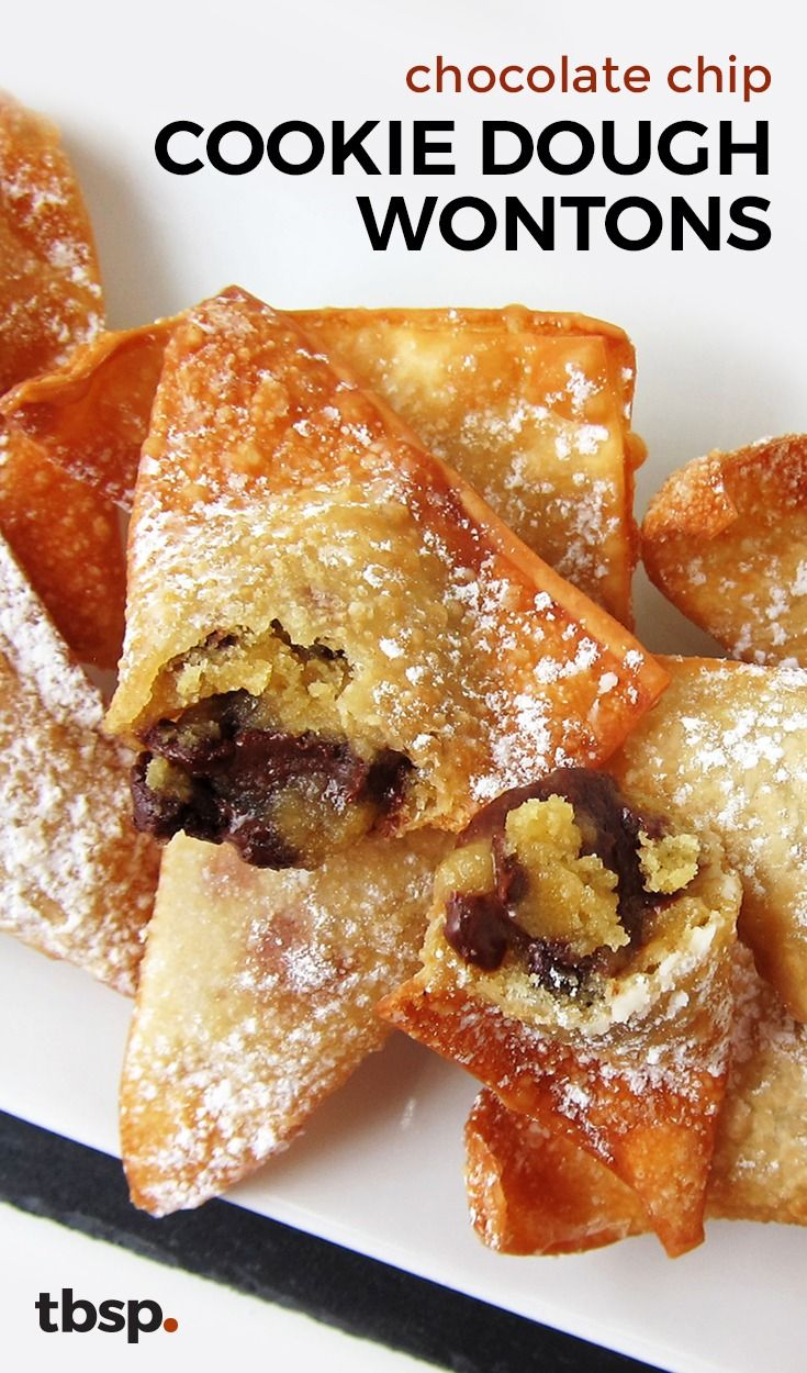 You've never had wontons like these! Gooey chocolate chip cookie dough is tucked inside golden, crispy wonton wrappers for a fun twist on dessert no one will see coming (or be able to put down).