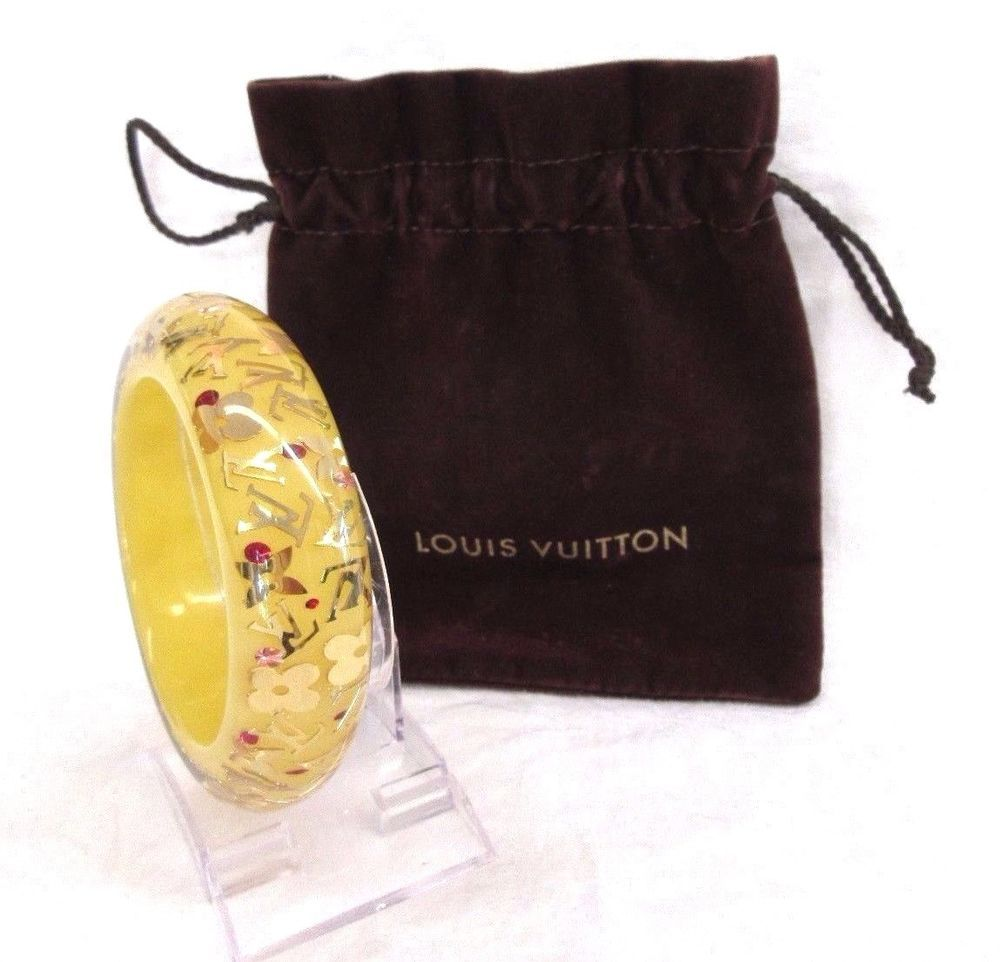 Authentic vintage louis vuitton big yellow gold lucite bangle