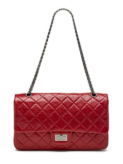 e844f2cf2238 Chanel Red Distressed Calfskin Classic 2.55 Jumbo Reissue 227 Double Flap