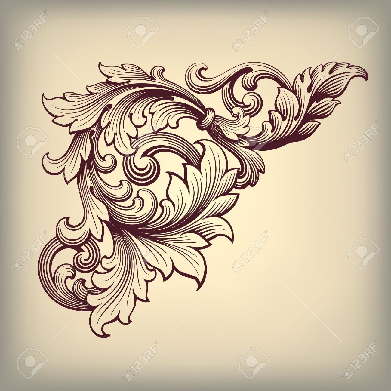 vintage frame tattoo designs. Vector Vintage Baroque Scroll Design Frame Corner Pattern Element Engraving Retro Style Ornament By HiSunnySky, Via Shutterstock Tattoo Designs T