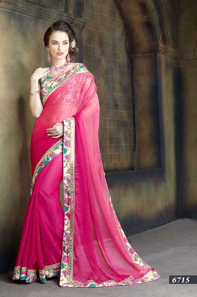 Wedding Pakistani Sari Bollywood Designer Traditional Saree Ethnic ...