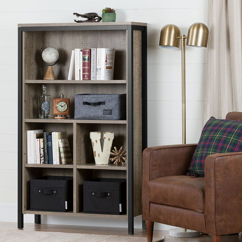 Munich 6 Shelf Bookcase With Cubes Weathered Oak Bookcase 4