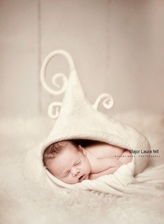 Felted newborn posing basket photography props by majorlaura