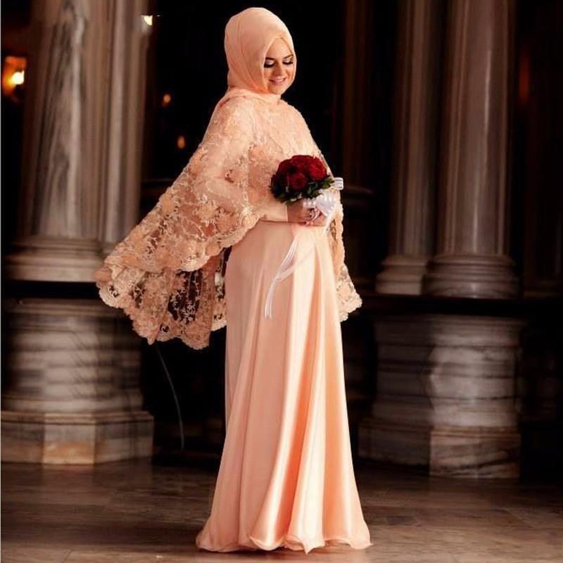 2016 Elegant Lace Muslim Evening Dresses Jewel Neck Long ...