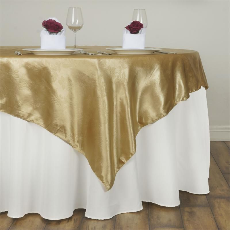 60 Champagne Square Overlay Lily Embossed Satin Table