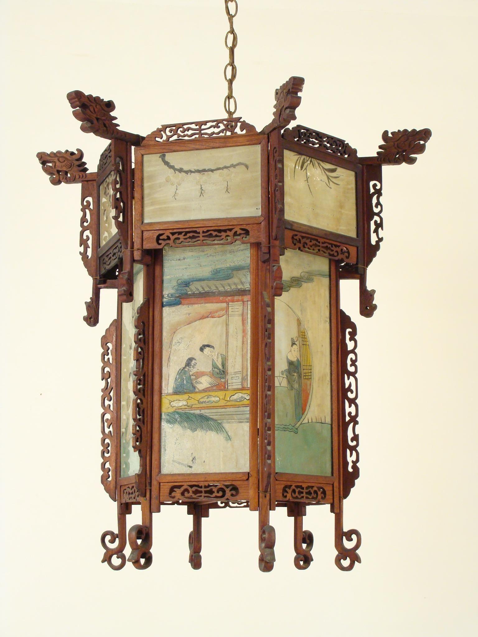 Chinese Lantern With Eglomise Glass Panels Chinese Lanterns Wooden Lanterns Chinese Lamps