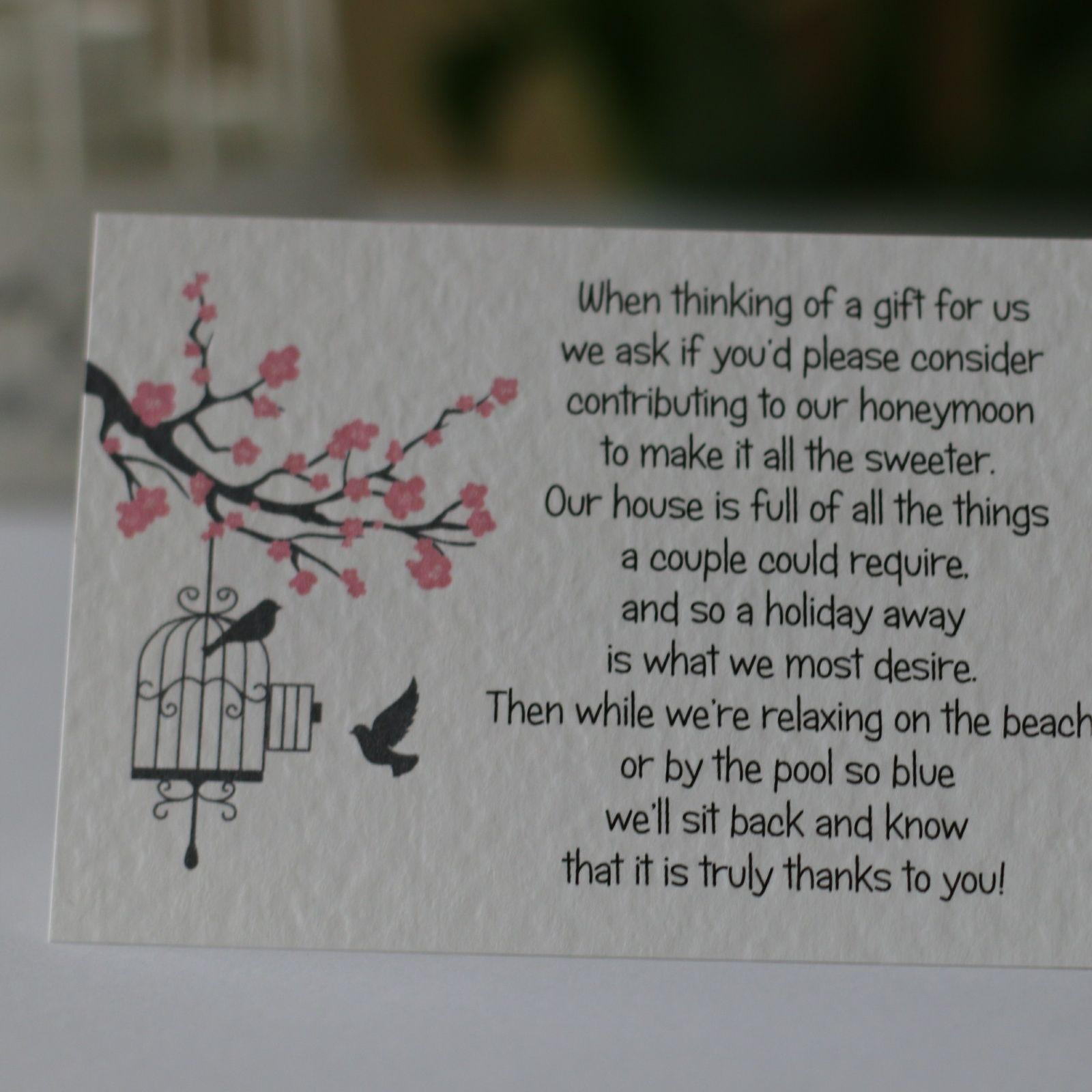 Blossom Wedding Gift Poem Cards money cash gift honeymoon | Wedding ...