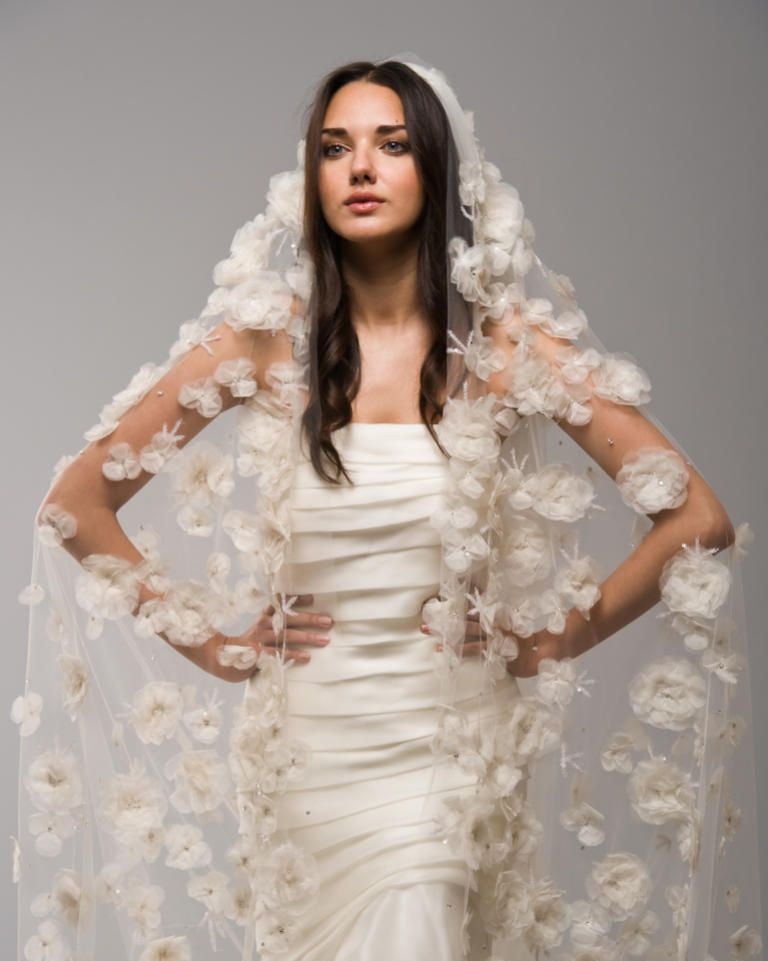 16 new wedding veil styles youll love veil organza flowers and 16 new wedding veil styles youll love junglespirit Image collections