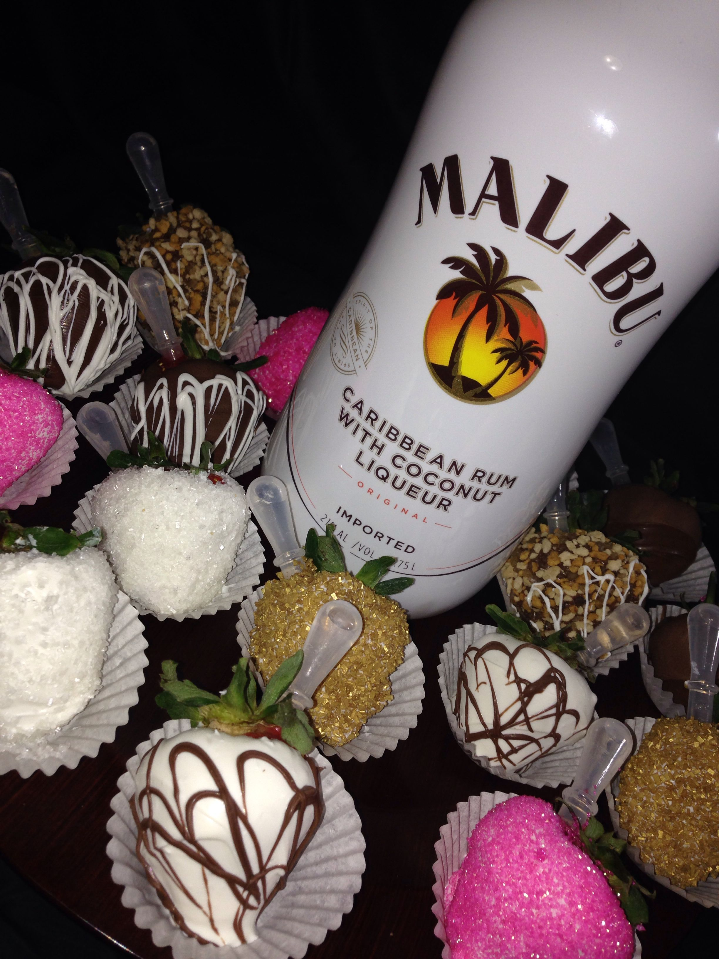 Gourmet Chocolate Covered Strawberries Infused with Malibu Rum