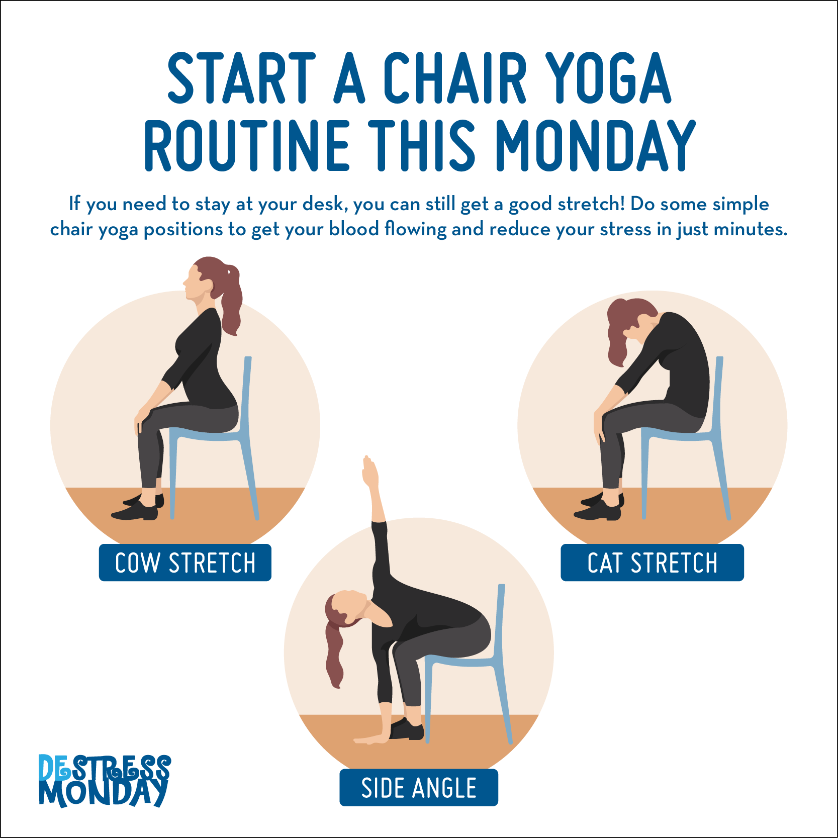This Monday, DeStress at Work with Easy Chair Yoga Moves
