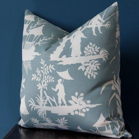 Asian Pillow Cover Teal Pillow Cover Asian Pillow Chinoiserie