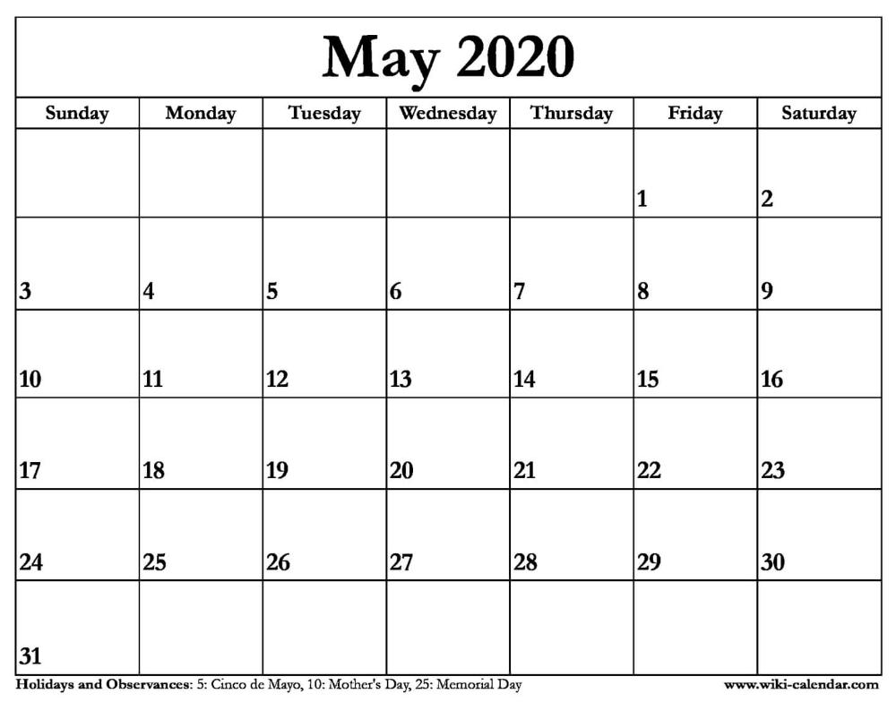 May 2020 Calendar Printable Printable Calendar Word Calendar Template Calendar Printables