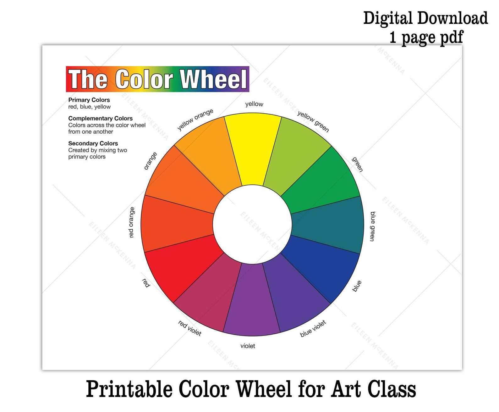 Printable Color Wheel Kids Art Class Teaching Asset