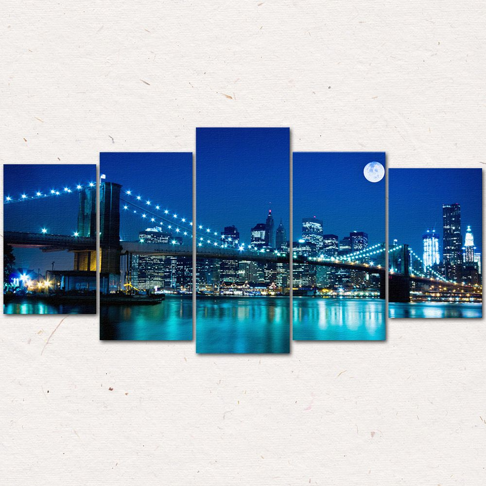 5 Piece/Set Night View Art Golden Gate Bridge Canvas Decorative Painting The Living Room Bedroom Modern Oil Painting (No Frame) #Affiliate