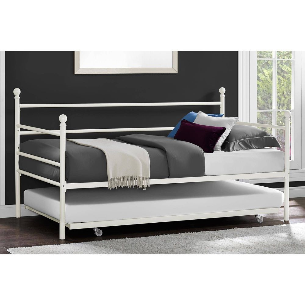 daybed with trundle twin size metal black frame modern bedroom