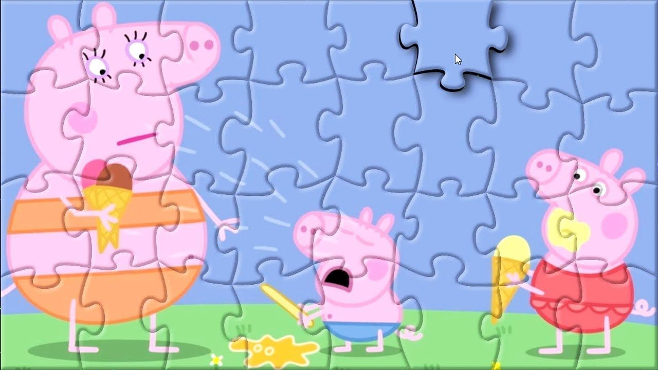 Puzzle game Peppa Pig eating ice cream for kids Puzzle