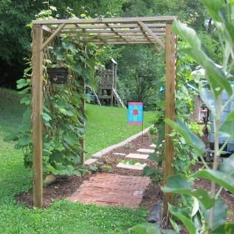 the story of our grape arbor, tells you how to make this simple grape arbor