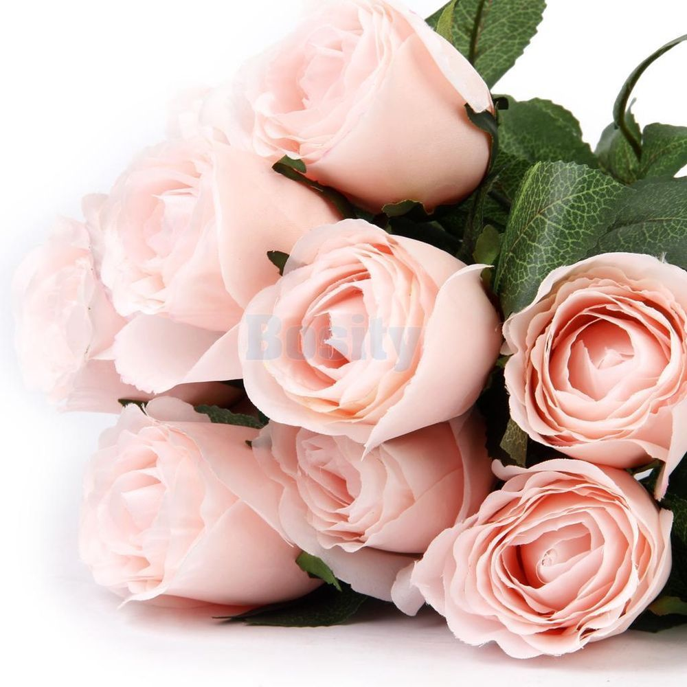 1 Stem Artificial Silk Rose Flower 11 Heads Bouquet Home Wedding ...