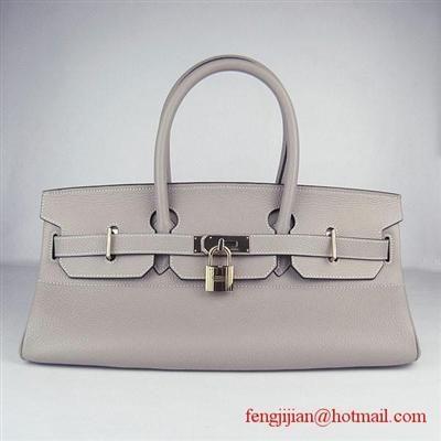Hermes >  Birkin 42CM >  Hermes Birkin 42cm Togo Leather Bag 6109 Grey gold padlock Replica