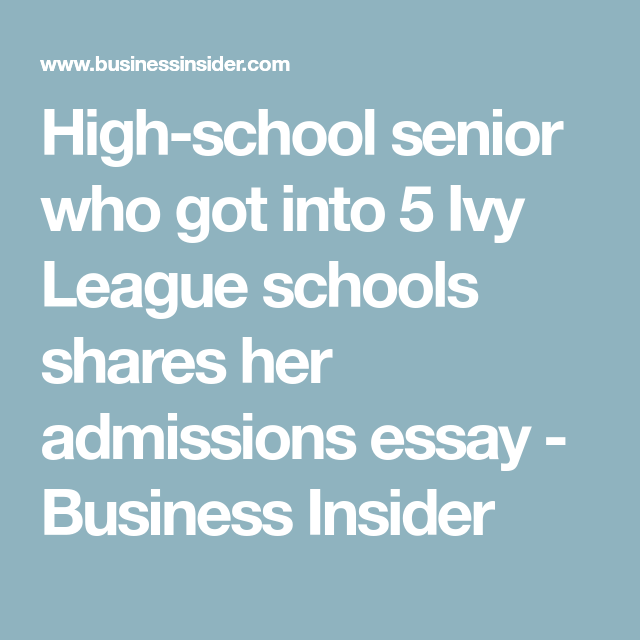 high school admissions essay business