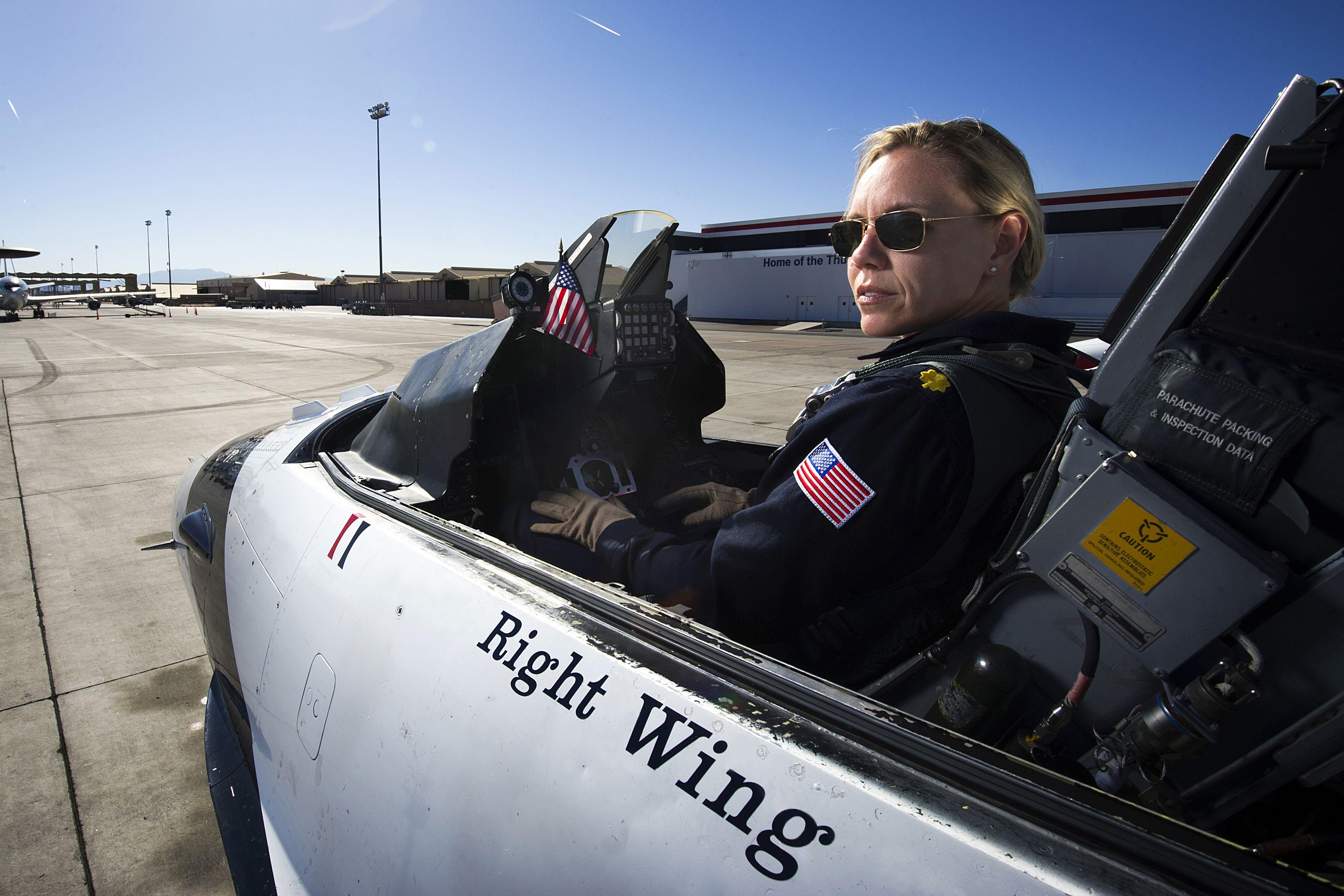 Air Force Maj. Caroline Jensen prepares for a practice
