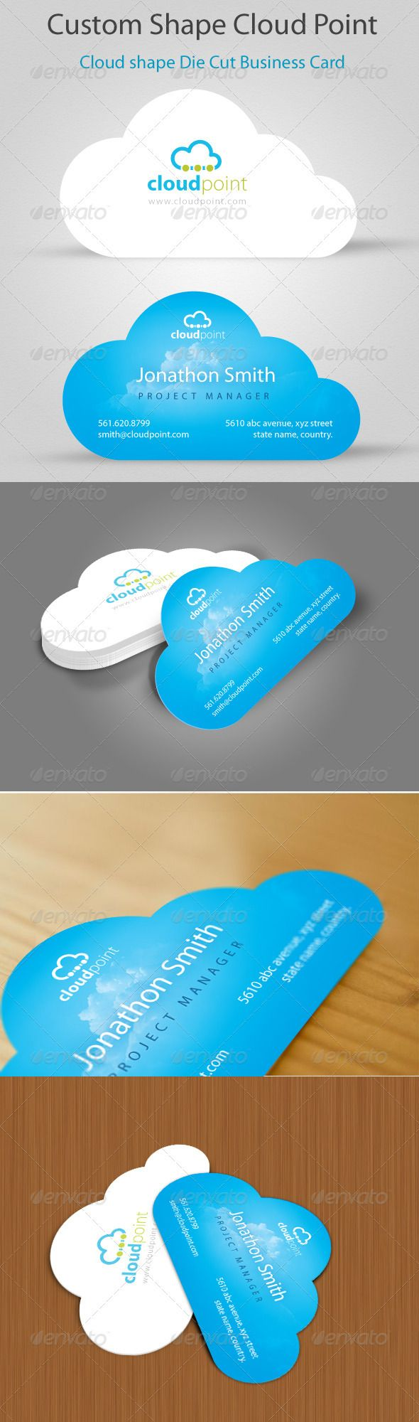 Cloud Point Custom Shape Die cut Business Card | Business cards ...