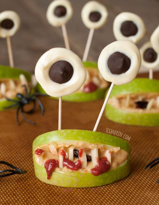 These healthy Halloween monster mouths are fun to make and free of - fun halloween food ideas