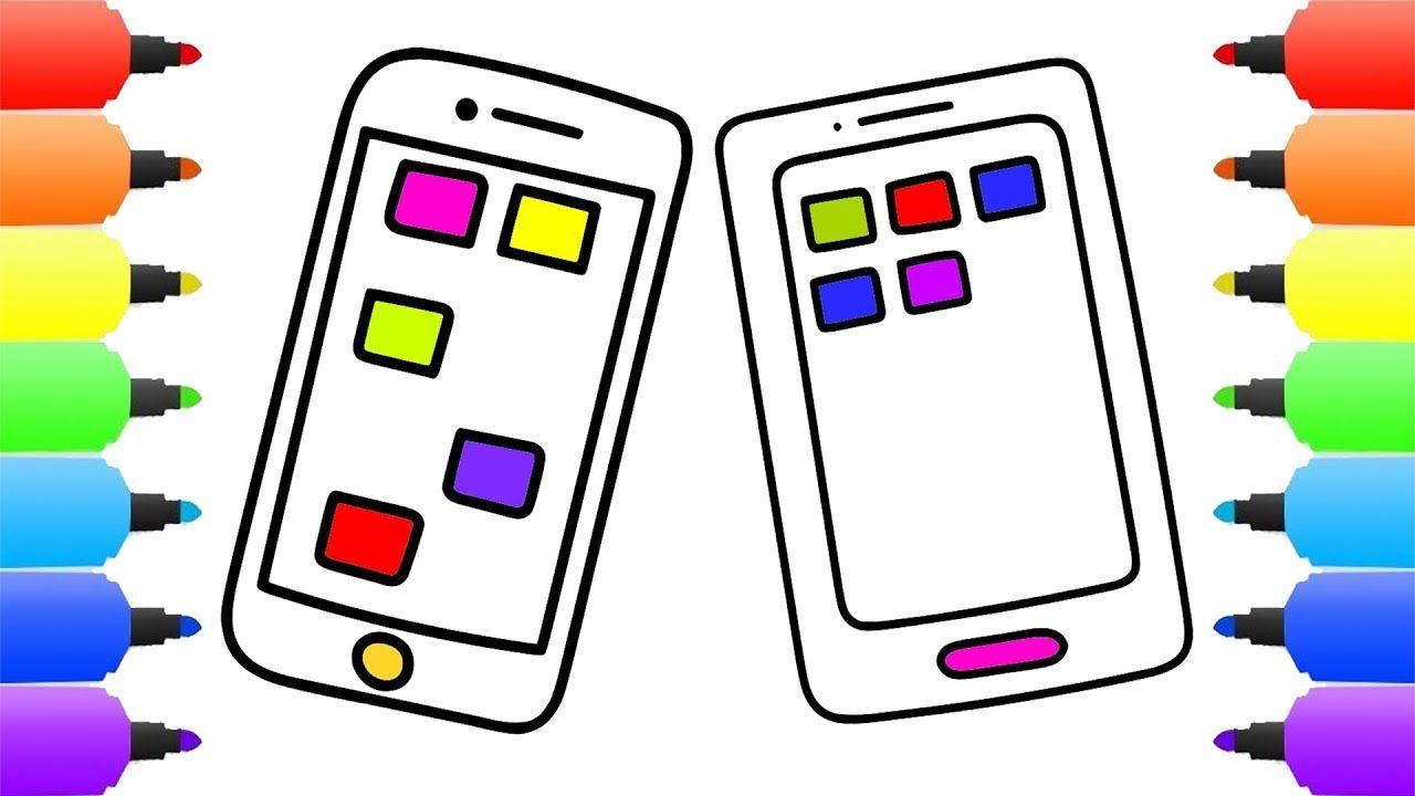 How to Draw Red Iphone and Samsung Galaxy Coloring Pages | Drawing ...