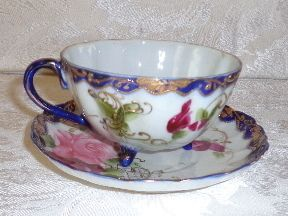 Nippon~ Hand-painted, Roses Cup/Saucer Set wIth Raised Gilt!