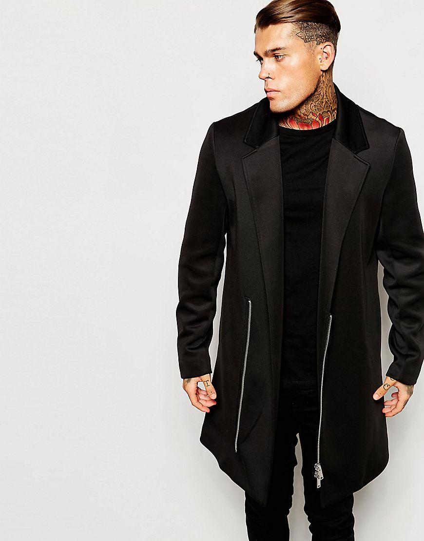 ASOS Neoprene Overcoat In Black  46c23aec3b